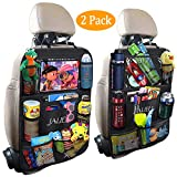 JALIELL Car Back Seat Organizer for Kids Car Organizer Kick Mats with 10' Touch Screen Tablet Holder + 9 Storage Pockets Car Back Seat Protector Car Travel Accessories for Toddlers Toys (2 Pack)