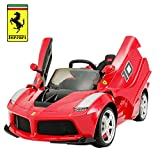 Uenjoy 12V Ferrari FXX K Kids Electric Ride On Cars Motorized Vehicles w/Remote Control,Leather Seat, LED Lights, Music, Aux, Horn, Butterfly Doors,Red