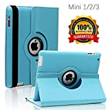 iPad Mini 1/2/3 Case - 360 Degree Rotating Stand Smart Cover Case with Auto Sleep/Wake Feature for Apple iPad Mini 1 / iPad Mini 2 / iPad Mini 3 (Sky Blue) ...