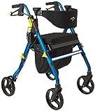 Medline Premium Empower Rollator Walker with Seat, Folding Rolling Walker with 8-inch Wheels, Blue