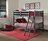 Storkcraft Caribou Solid Hardwood Twin Bunk Bed, Gray Twin Bunk Beds for Kids with Ladder and Safety Rail
