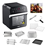 GoWISE USA GW44800-O Deluxe 12.7-Quarts 15-in-1 Electric Air Fryer Oven w/Rotisserie and Dehydrator + 50 Recipes (Black)