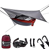 Easthills Outdoors Double Bug Net Camping Hammock Ripstop Parachute Nylon Camping & Outdoor Hammocks Tent with Waterproof Rainfly Tarp Red