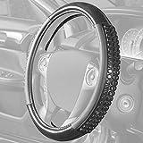BDK Ultra Gel Carbon Fiber Comfort Grip Steering Wheel Cover (Solid Black) Heat & Cold Insulation Orthopedic