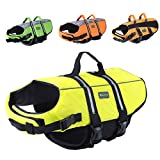 Wellver Dog Life Jacket Pet Life Preserver Saving Vest with Reflective Strips,Large,Yellow