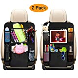 mixigoo Car Back Seat Organizer Kids - Car Organizers Covers Protectors with 10' Touch Screen Tablet Holder Large Storage Pockets Kick Mats for Toy Cartoon Journey Travel Accessories (Large Pocket)