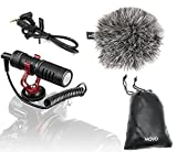 Movo VXR10 Universal Video Microphone with Shock Mount, Deadcat Windscreen, Case for iPhone, Android Smartphones, Canon EOS, Nikon DSLR Cameras and Camcorders