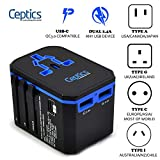 International Power Adapter, Ceptics World Travel USB Type C QC 3.0 18W PD Plug Adaptor Kit - 3 USB Ports Wall Charger Type I C G A Outlets 110V 220V A/C - 5V D/C - EU Euro US UK - All in One