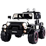 Uenjoy Ride On Cars 12V Children's Electric Cars Motorized Cars for Kids, Remote Control, 3 Speeds, Head Lights, Dual Motors, White
