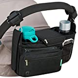 STROLLER ORGANIZER with cup holders NON-SKID strap FITS ALL strollers, Compact Mirror, Storage for Phone, Wallet, Toys, BEST BABY SHOWER GIFT! by SWANOO best stroller caddy!