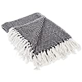 DII 100% Cotton Basket Weave Throw for Indoor/Outdoor Use Camping Bbq's Beaches Everyday Blanket, 50 x 60', Black