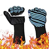 932℉ Extreme Heat Resistant BBQ Gloves, Food Grade Kitchen Oven Mitts - Flexible Oven Gloves, Silicone Non-Slip Cooking Hot Glove for Grilling, Baking, Welding