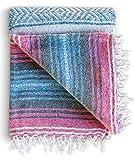 Yoga Blanket - Authentic Baja Blanket - Yoga Blankets Mexican - Mexican Blanket Yoga Serape Blankets - Mexican Blanket Perfect as Beach Blanket, Camping Blanket (Azure Blush)