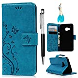 HTC M9 Leather Case, HTC One M9 Case Wallet, MOLLYCOOCLE PU Leather Wallet Embossed Florals Kickstand Magnetic Flip Case Card Holders & Hand Strap Case Cover for HTC One M9 / HTC M9 -Blue