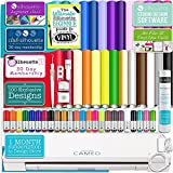 Silhouette Cameo 3 White Bluetooth Starter Bundle with 26 Oracal Vinyl Sheets, Transfer Paper, Class, Guide and 24 Sketch Pens
