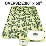 MIU COLOR Large Waterproof Outdoor Picnic Blanket, Sandproof and Waterproof Picnic Blanket Tote for Camping Hiking Grass Travelling (80'' x 60'' Green Leaves)