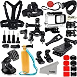 Kupton Accessories for GoPro Hero 7 Black/Hero 6/ Hero 5/ Hero 2018 Action Camera Include Waterproof Housing Case Chest Head Strap Bike Car Mount Floating Grip Bundle Set Kit for Go Pro Hero 7 6 5