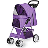 Paws & Pals Pet Stroller Cat/Dog Easy to Walk Folding Travel Carrier Carriage, Lavender Purple