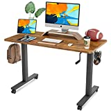 FAMISKY Crank Adjustable Height Standing Desk, 48 x 24 Inches Manual Stand Up Desk, Sit Stand Workstation for Home Office with Handle and Splice Board, Black Frame/Walnut Top