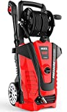iRozce Pressure Washers, 3800 PSI 2.6 GPM Max Electric Power Washer with Hose Reel/Adjustable Nozzles, Turbo Nozzle, Foam Cannon for Concrete, Deck, Patio Furniture, Car Washing