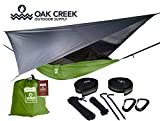 Oak Creek Camping Hammock and Accessories. Complete Package Includes Mosquito Net, Rain Fly, Tree Straps and Portable Lightweight Compression Sack. Weighs Only 4 Pounds. (Lime Green)