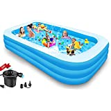 Inflatable Pool for Kids and Adults - Kiddie Pool Inflatable Swimming Pool for Kids Pools for Backyard Blow Up Pool 120' X 72' X 22'🎀 Air Pump Kids Pool Family Pool, Toddlers, Lounge Water Play Party