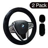 Airsnigi 2 Pack Steering Wheel Cover,Winter Warm Velvet Car Steering Wheel Cover with Handbrake Gear Shift Plush Cover,Universal 14' to 15'',Anti-Slip,Sweat Absorption,Odorless (Black)