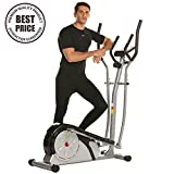 ncient Elliptical Machine Eliptical Trainer Exercise Machine for Home Use Magnetic Smooth Quiet Driven with LCD Monitor and Pulse Rate Grips (Silver)