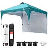 Viewee Canopy Tent with Side Wall 10' x 10' Anti-UV, Pop-up Canopy Impermeable, Shelter Canopy Adjustable Height, Outdoor Tent with Wheeled Carrying Bag and 4 Fixed Sandbags
