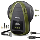 TEROMAS Tire Inflator Air Compressor, Portable DC/AC Air Pump for Car Tires 12V DC and Other Inflatables at Home 110V AC, Digital Electric Tire Pump with Pressure Gauge (Green)