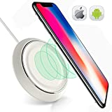 Wireless Charging Pad Compatible with iPhone X-8-8 Plus-Wireless Charger for Samsung Galaxy S9 S8 S8plus S7 S7 Note 8 S6 Edge Plus-QI Wireless Charging Station-Stand-iPhone X Wireless Charger-White