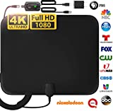 [Latest 2020] Amplified HD Digital TV Antenna Long 200 Miles Range - Support 4K 1080p Fire tv Stick and All Older TV's Indoor Powerful HDTV Amplifier Signal Booster - 18ft Coax Cable/AC Adapter