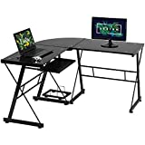 Computer Gaming Desk for Small Spaces Home Office Desk Toughened Glass L Shaped Corner Desk Writing Desk with Keyboard and CPU Stand (Black)