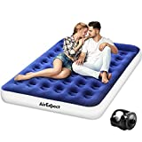 AirExpect Air Mattress Camping AirBed Queen Size Leak Proof Inflatable Mattress with Rechargeable Electric Pump Built-in Pillow for Guest,Camping,Hiking, Height 9', Storage Bag