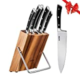Kitchen Knife Set, Professional 6-Piece Knife Set with Wooden Block Germany High Carbon Stainless Steel Cutlery Knife Block Set, by Aicok