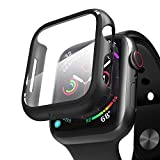 pzoz Compatible Apple Watch Series 6/5 /4 /SE 44mm Case with Screen Protector Accessories Slim Guard Thin Bumper Full Coverage Matte Hard Cover Defense Edge for Women Men New Gen GPS iWatch (Black)