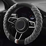 HAOKAY Luxurious Soft Plush Winter Steering Wheel Cover with Universal Size 15 Inches (Grey)