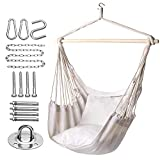 Y- STOP Hammock Chair Hanging Rope Swing-Max 320 Lbs-2 Seat Cushions Included-Quality Cotton Weave for Superior Comfort & Durability (Beige)