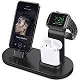 OLEBR 3 in 1 Charging Stand Compatible with iWatch Series 5/4/3/2/1, AirPods and iPhone Xs/X Max/XR/X/8/8Plus/7/7 Plus /6S /6S Plus(Original Charger & Cables Required) Black