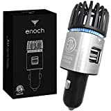 Enoch Car Air Purifier with USB Car Charger 2-Port. Car Air Freshener Eliminate Odor, Dust. Removes Smoke, Pet and Food Odor, Ionic Ozone. Ionic Car Deodorizer (Silver)