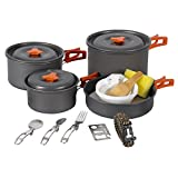 REDCAMP 23 PCS Camping Cookware Set for Family, Compact & Folding Backpacking Cookset for 4-5 Persons, Anodized Aluminum Lightweight Camping Pots and Pans Set