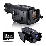 VABSCE Digital Night Vision Monocular for 100% Darkness, 2K Full HD Video Long Distance Infrared Night Vision Goggles Binoculars for Hunting, Camping, Travel, Surveillance with 32 GB Micro SD Card