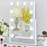 FENCHILIN Lighted Makeup Mirror Hollywood Mirror Vanity Makeup Mirror with Light Smart Touch Control 3Colors Dimmable Light Detachable 10X Magnification 360°Rotation(White)