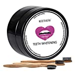 Activated Teeth Whitening Charcoal, Auperwel Natural Teeth Whitening Powder 1oz with 3pcs Bamboo Brush, Upgrade Formula No Hurt on Enamel or Gum, Alternative to Toothpaste, Strips, Kits, Gels