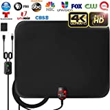 [2020 LATEST] Amplified HD Digital TV Antenna Long 120 Miles Range - Support 4K 1080p Fire tv Stick and All Older TV's Indoor Powerful HDTV Amplifier Signal Booster - 18ft Coax Cable/AC Adapter