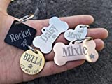 Jinglrr Personalized Stainless Steel Dog Tags Cat Tags ID Tags Extremely Durable Made in USA (Rose Gold, Bone Small)