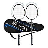 QICHUAN Whizz 2 PCS Carbon Badminton Racket Set for Adults, Exclusive Anti Scratch Design (S5 Black 2PCS)
