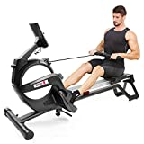 Dripex Magnetic Rowing Machine for Home Use, Super Silent Indoor Rower with 15-Level Adjustable Resistance, Double Aluminum Sliding Rail, LCD Monitor Fit for Home Gym, Cardio & Strength Training