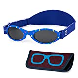 Baby Sunglasses 0-6, 6-12 month - Age 3 Years   Infant, Toddler Girl & Boy Sun Glasses with Adjustable Strap, Baby Beach Gear   UV 400 Protection   Soft Rubber Frame Sunshades with Case (Blue)
