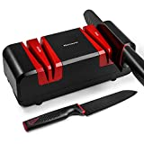 Narcissus Knife Sharpener, 90W Electric Knife Sharpener for Home, with 15-Degree Bevel 2 Wide Stages Grooves, Multifunction for Scissors and Slotted Screwdriver, 5 Minutes Overheat Protection